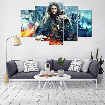 Mddjj Peinture Murale Sans Cadre Art Décoration De La Maison Moderne 5  Panneau Game Of Thrones Salon Toile Hd Imprimer Peinture Modulaire Photos  ...