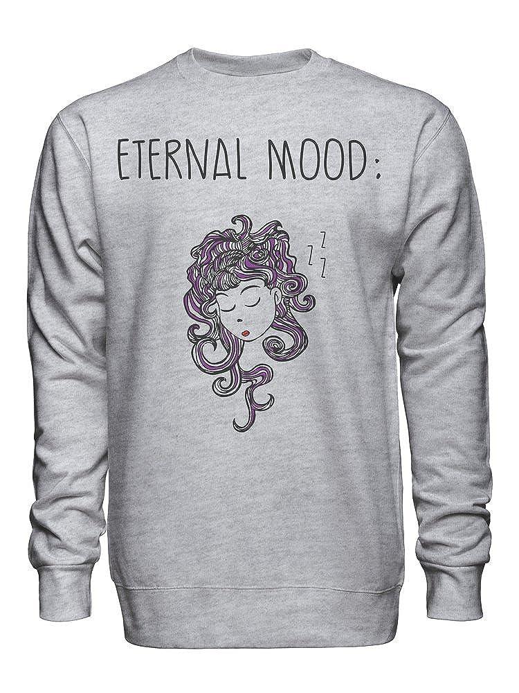Eternal Mood Beautiful Girl with Purple Hair Unisex Crew Neck Sweatshirt