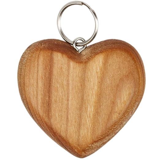 6 x 5,5 cm madera corazón colgante de corazón llavero cereza ...