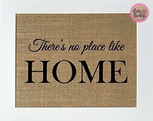 8x10 UNFRAMED There's No Place Like Home / Burlap Print Sign / Vintage Shabby Chic Rustic Wedding Decor Engagement Gift Home Decor Housewarming Gift