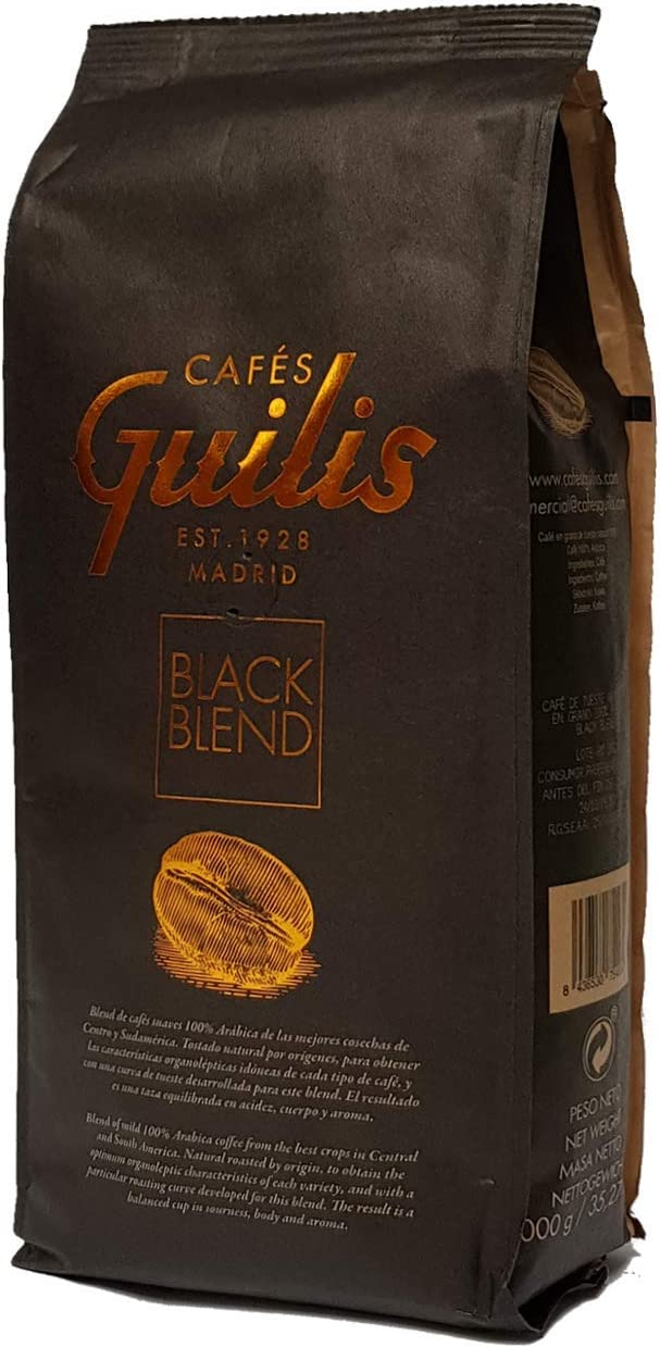 CAFES GUILIS Café en Grano Natural Black Blend de Tueste Natural 1 ...