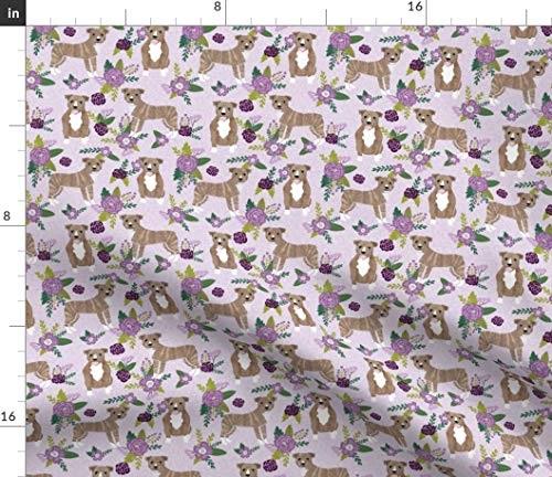 (Pitbull Fabric - Pitbull Purple Pitbull Pitbulls Floral Flowers Dogs Brindle Dog Mom Pet Portrait Gift by Petfriendly Printed on Modern Jersey Fabric by The Yard)