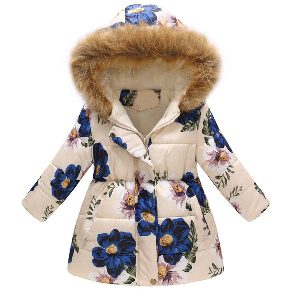 Toddler Baby Girls Boys Winter Floral Thick Warm Jacket Hooded Windproof Coat Children Autumn Long Wind Long Sleeve Greatcoat Surcoat For Children Toddler Baby Girl Kid Costume (2-3Y, Beige)