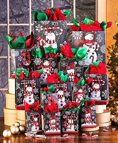 42-Pc. Chalkboard Snowmen Gift Bag Sets (Gift Bag Set)
