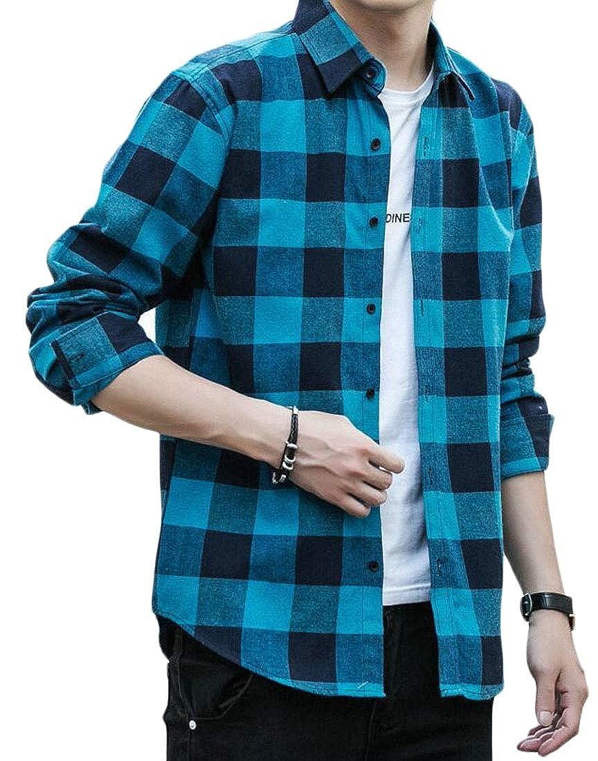 GAGA Mens Long Sleeve Western Plaid Dress Shirt Button Down Casual Shirt