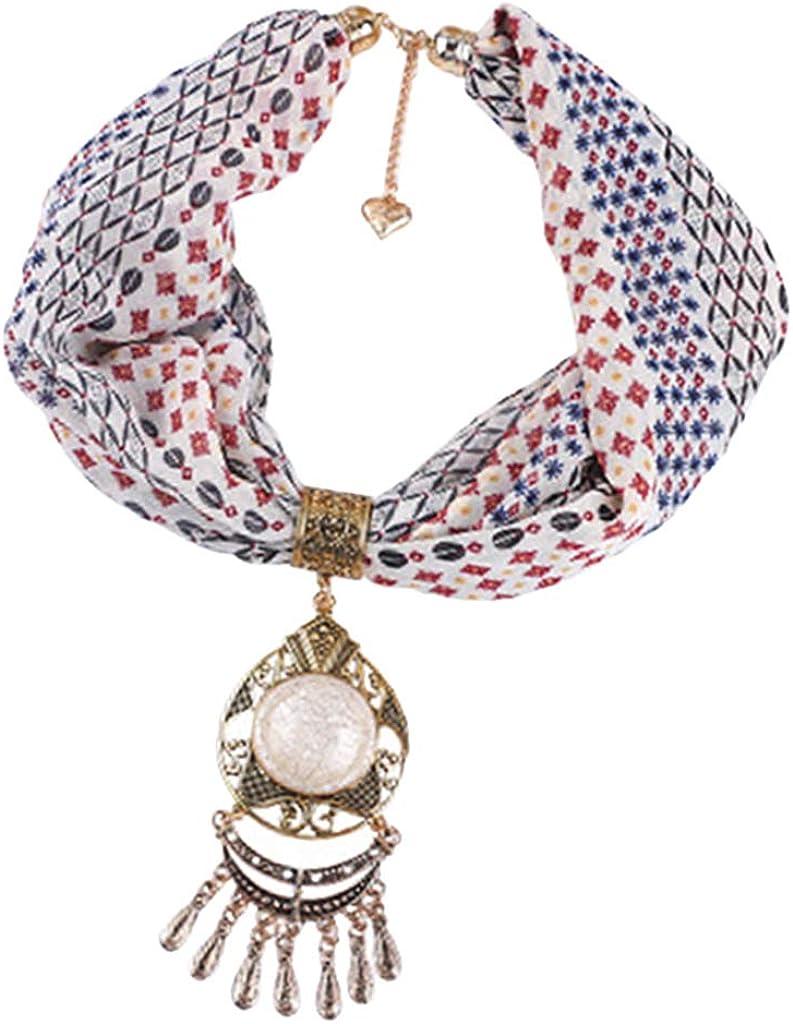 Hellery Collar Babero Colgante de Piedras con Borlas Bufanda de Gasa Pañuelo Impreso Étnico Adorno para Vestido Falda
