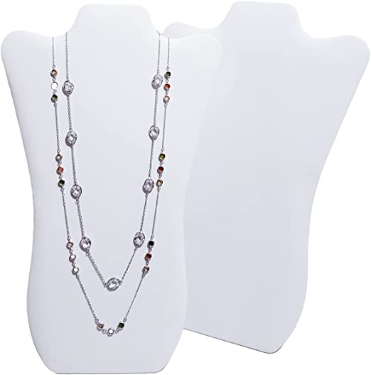 """NEW White Leather Necklace Jewelry Display Easel 14/"""" H"""