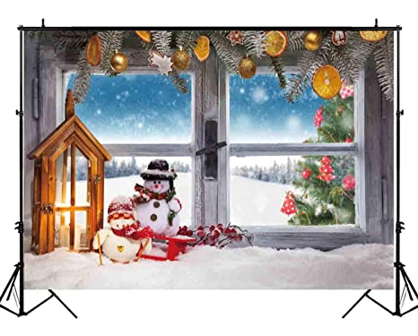 Funnytree 7x5ft Christmas Window Backdrop Winter White Snow Snowman Snowflake Photography Pine Tree Lamp Decoration Background Children Newborn Baby