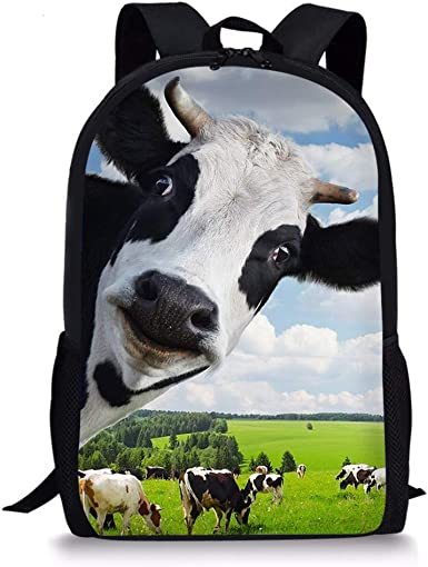 """17/"""" Black Cow Cute Teen Boys School Bookbag Travel Shoulder Bags Backpack Girls"""