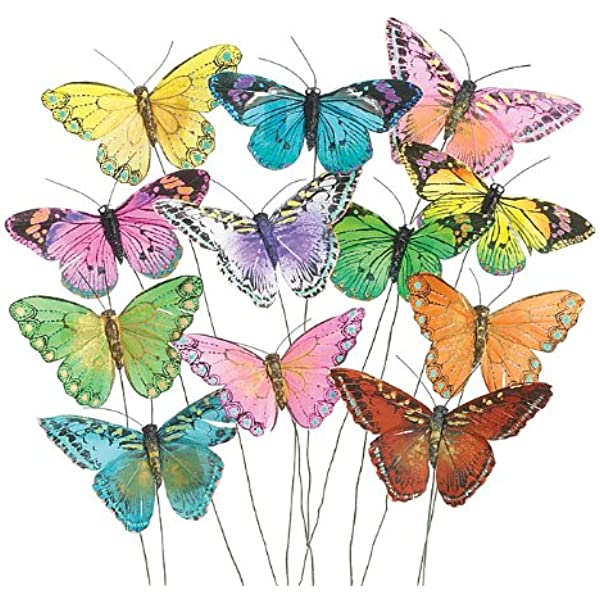 Assorted Pastel Monarch Feather Artificial Butterflies