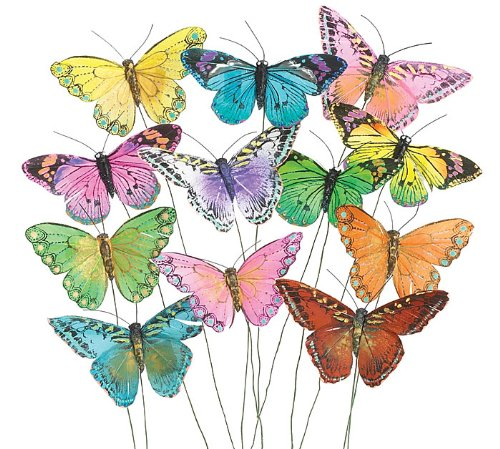 Set of 12 Feather Butterflies on Picks Floral Supplies Burton & Burton 984374
