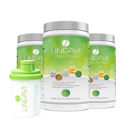 LINEAVI Alimento Dietético Activo, batido de proteína para adelgazar, mezcla de proteínas de soja, guisante, arroz y suero de leche, sin lactosa ni ...