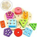 Dreampark Wooden Toddler Toys, Wooden Educational Preschool Stacking Blocks for Boys and Girls Age 3 Valentines Gifts