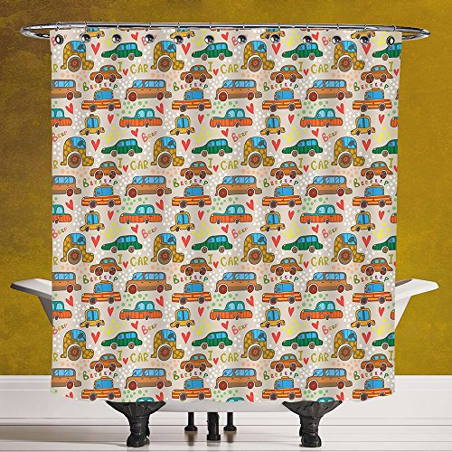 Funky Shower Curtain 3.0 [Cars,Cute Cartoon Style Car Pattern ...