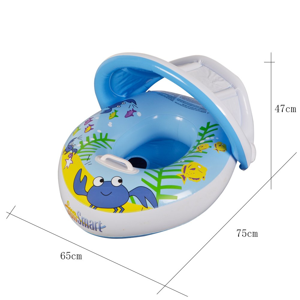 HANMUN Baby Pool Floats Canopy,Inflatable Baby Pool Float Swimming Ring Handle The Age 6-36 Months