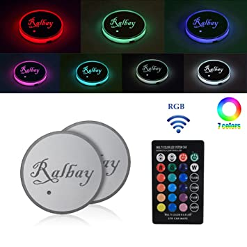 Amazon.es: Ralbay Led Car Cup Holder Mat Pad Color Changing 3 Modes Car Interior Decoration Atmosphere Lights USB Rechargeable Waterproof Drink Coaster with ...