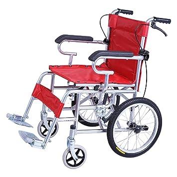 Amazon.com: Banluo Silla de ruedas plegable ligera con freno ...