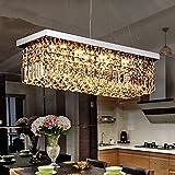9 light crystal chandelier - Saint Mossi Modern K9 Crystal Rectangle Raindrop Chandelier Lighting Flush Mount LED Ceiling Light Fixture Pendant Lamp for Dining Room Bathroom Bedroom Livingroom H 9in x W 10in x L 31in 5 E12 Bulbs