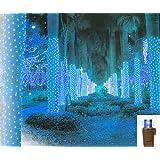 Vickerman 150-Light 2-Feet by 8-Feet LED Blue Brown Wire Wide Angle Net