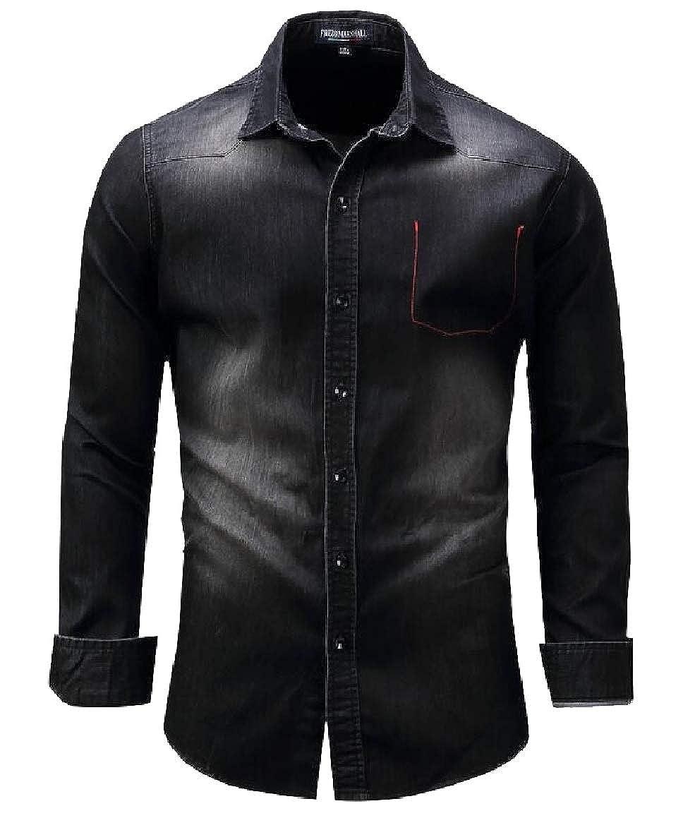 ouxiuli Mens Lapel Slim Fit Denim Long Sleeve Button Down Shirt Tops