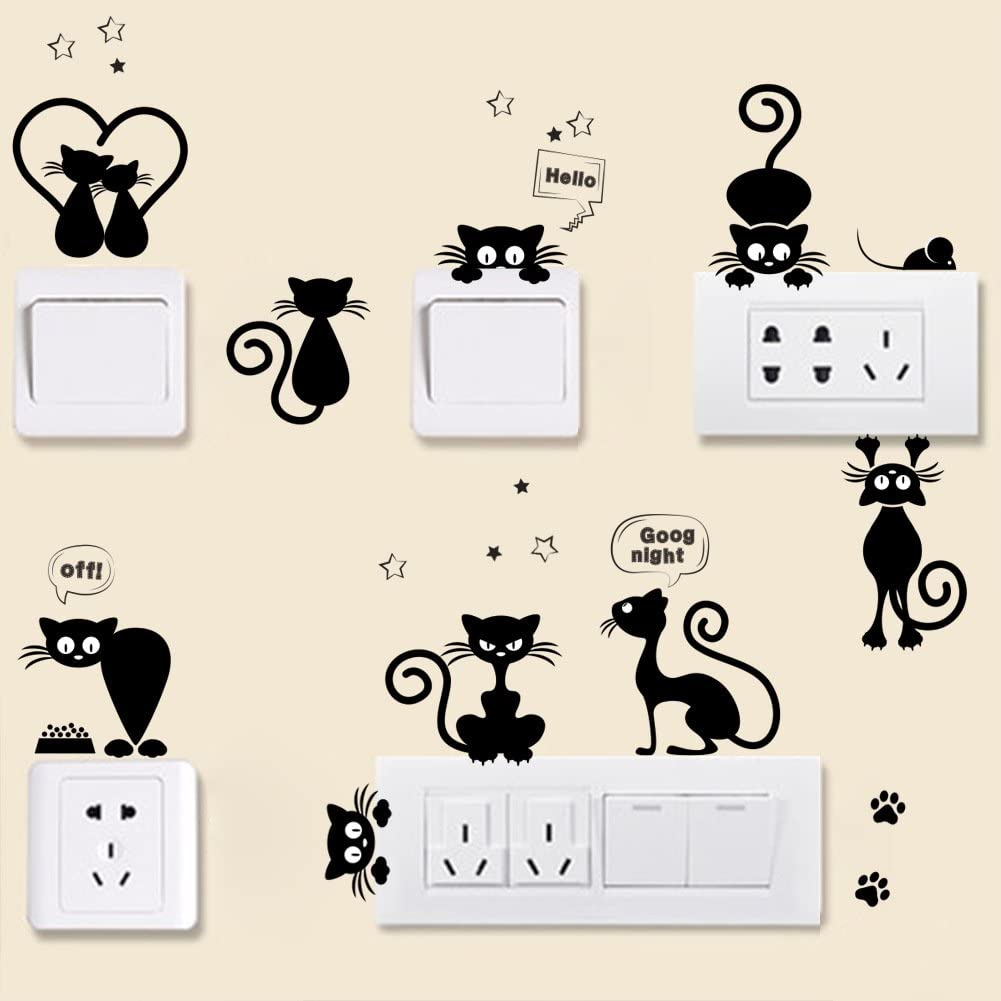 BIBITIME DIY Small Black Cats Vinyl Decal for Phone Case Cup Laptop Cover Nursery Light Switch Stickers Good Night Hello Off Stars Cake Mouse Fish Cats Paws Decor (Only sticker,excluding light switch)