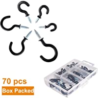 Screw in Ceiling Hooks, Pyhot Black 70Pcs Plastic Coated Cup Screw Hooks Mug Hooks Holder Assortment Kit with Plastic Box, 6 Sizes