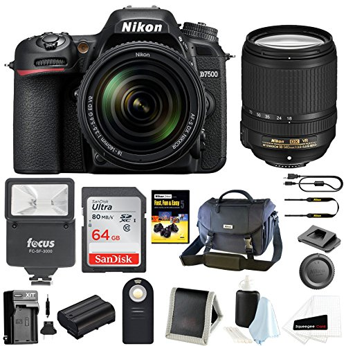 Nikon D7500 Digital SLR Camera and Nikkor 18-140mm VR Lens Bag and 64GB Card and Flash and Accessory Bundle