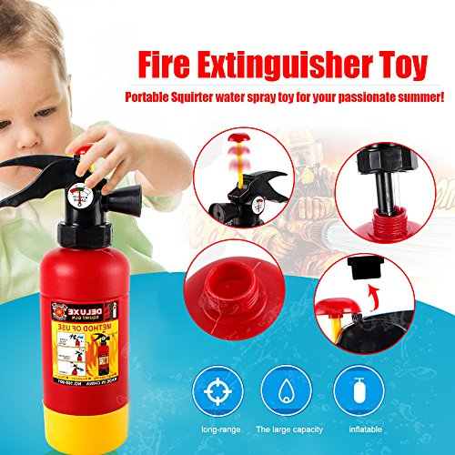 Fake Fire Extinguisher Halloween (CCGTOY Fire Extinguisher Portable Squirter Water Spraying Toy for Kids Halloween Firefighter Costume)