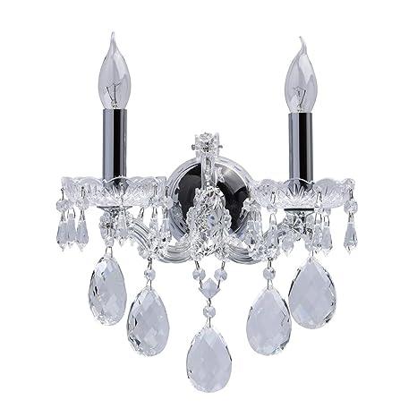 Chiaro 479021502 Applique Murale à 2 Lampes Bougie Design Baroque Armature en Métal Chromé décorée de Pampilles en Cristal Transparent pour Salon