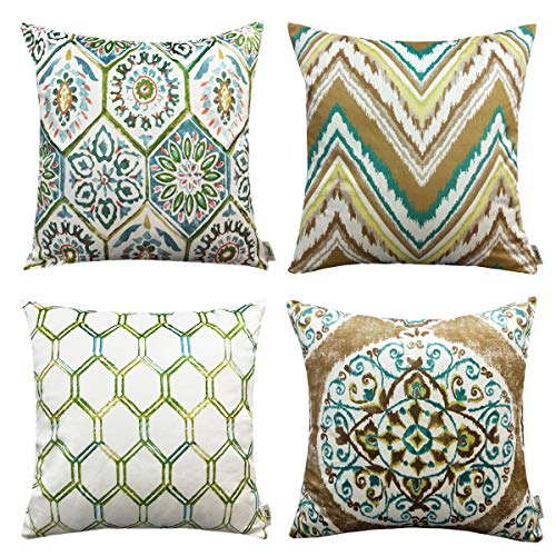 FINET Velvet Throw Pillow Covers For New Living Garden Series,Floral Geometric Square Print Decorative Zippered Protectors Cushion Covers, 18 X 18(45x45 cm),Pack Of 4(Green)