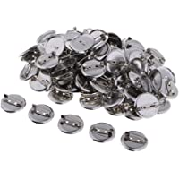 Baosity 100PCS Flat Round Metal Pin Back Brooch/Badges Findings DIY Crafts