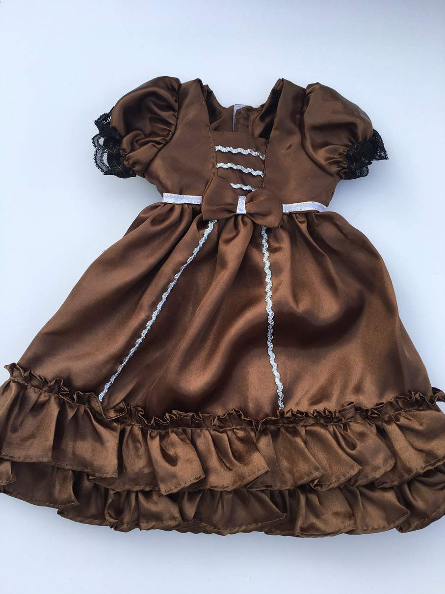 Fits 16 17 18 Cabbage Patch Kids Doll Clothes Brown Gingerbread Long Dress Christmas or Holiday Dress