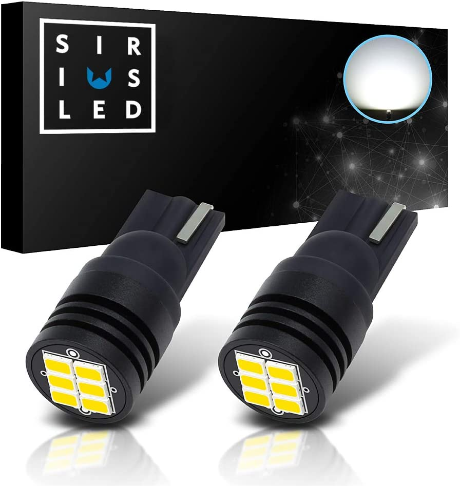 SIRIUSLED CB Extremely Bright 400 Lumens 3020 Chipset Canbus Error Free LED Bulbs for Interior Car Lights License Plate Dome Map Side Marker Courtesy T10 168 194 2825 6000K White