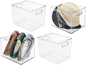 mDesign Plastic Home Storage Basket Bin with Handles for Organizing Closets, Shelves and Cabinets in Bedrooms, Bathrooms, Entryways and Hallways - 4 Pack - Clear