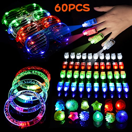 Super Cheap Halloween Decorations (LED Light Up Toys Flashing Party Favors & Party Supplies Beam Finger Light, Glow-in-the-dark Glasses, Bumpy Rings, Children's Theme Disco Dancing Set for Birthday, Festival, Carnival 60 pcs)