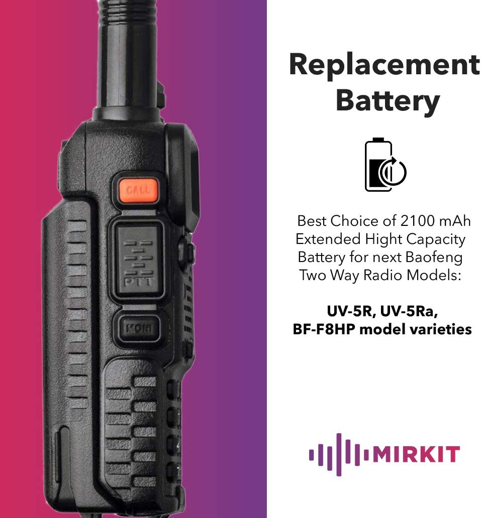 BF-F8HP Rechargeable Extended Batteries Accessories and Parts for radios by Mirkit Radio USA Warranty Baofeng Battery BL-5 Li ion 7.4V 2100mAh for Two-Way HAM Radio UV-5R v2