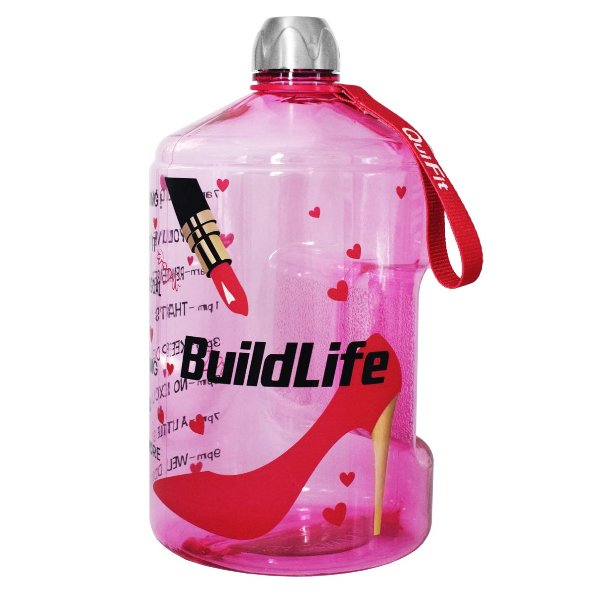 QuiFit 1 Gallon Sports Water Bottle with Motivational Time Marker BPA Free Leak Proof and Durable 128//73//43 oz Large Capacity to Ensure You Drink Enough Water Throughout The Day