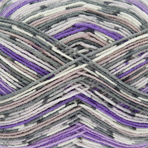 King Cole Zig Zag 4 Ply Superwash Knitting Wool & Nylon 100g Ball Craft Sock Yarn (Plum Wine - (Zig Zag Knitting Pattern)