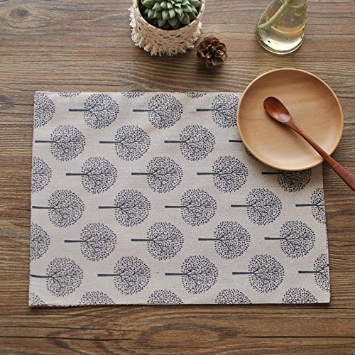 Table Placemats,Dulcii Thick Daily Used Washable Table Place Mats, Cotton Linen,approx 12 inch by 18 inch ,Set of 4