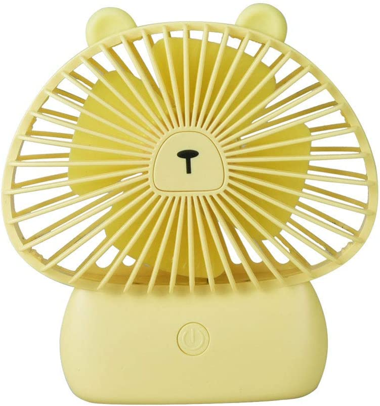 ZLYGY Small USB Handheld Fan with LED Night Light Four-Leaf Design Low Noise 3 Speeds Portable Mini Fan for Home Office Outdoor Travel,Green