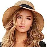 FURTALK Womens Beach Sun Straw Hat UV UPF50 Travel Foldable Brim Summer UV Hat