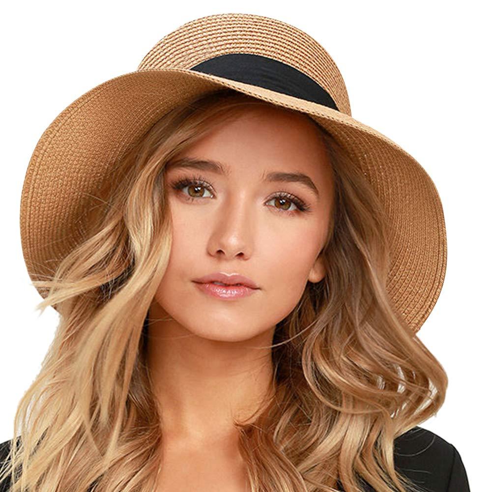 Pure Khaki FURTALK Wide Brim Floppy Sun Hat 100% Cotton Packable Summer Beach Hats for Women