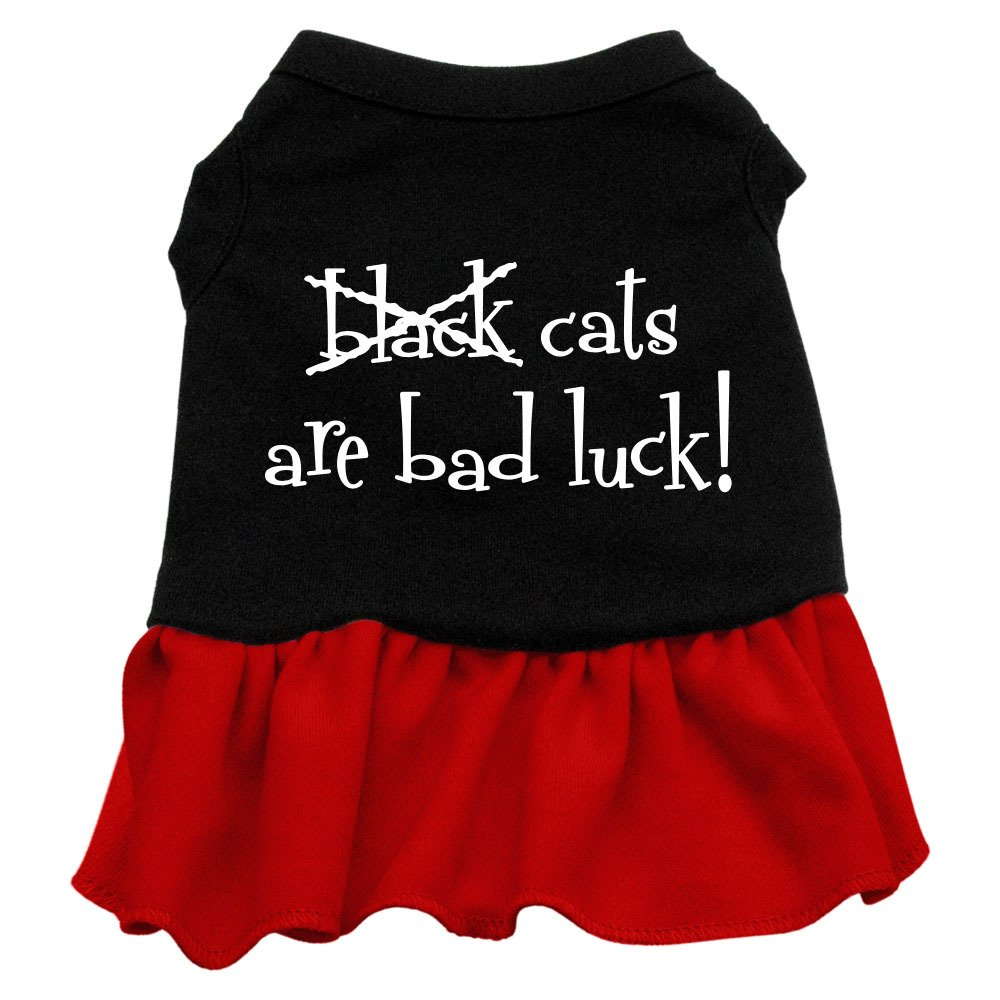 Dog   Cat   Pet Charms Black Cats are Bad Luck Screen Print Dress Black with Red XS (8)