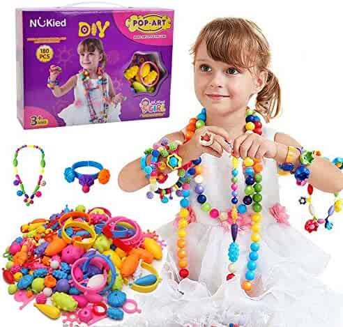 Snap Pop Beads Girl Toy - Happytime 180 Pieces DIY Jewelry Kit Fashion Fun for Necklace Ring Bracelet Art Crafts Gifts Toys for Kids Girls