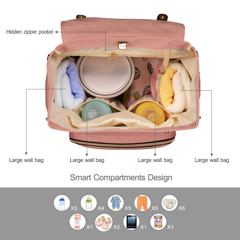 Pipi bear Baby Nappy Changing Backpack Bag Large-Capacity New Fashion Pink Multi-Functional