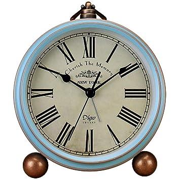 GJH Metal Reloj de Alarma Retro Mute de Alta definición de Vidrio Exquisito Anillo súper Ruidoso