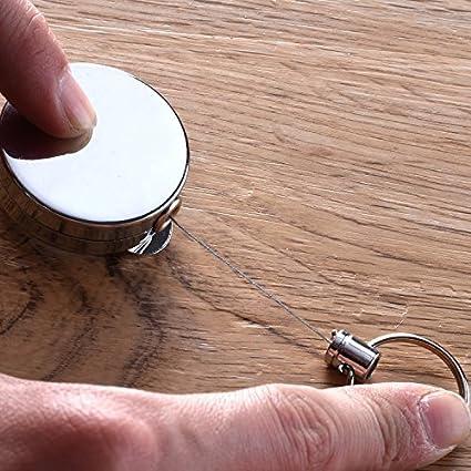 399a81375d81 2 porte-clés à bobine rétractable IceBlueOr robustes, fermeture éclair avec  fil d acier de 63,5 cm pour cartes d identité, badges et porte-clés   Amazon.fr  ...