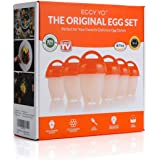 Silicone Hard Boiled Egg Cookers - 6 Egg Cooker Set with Holder and Timer - Boil Eggs without Shell