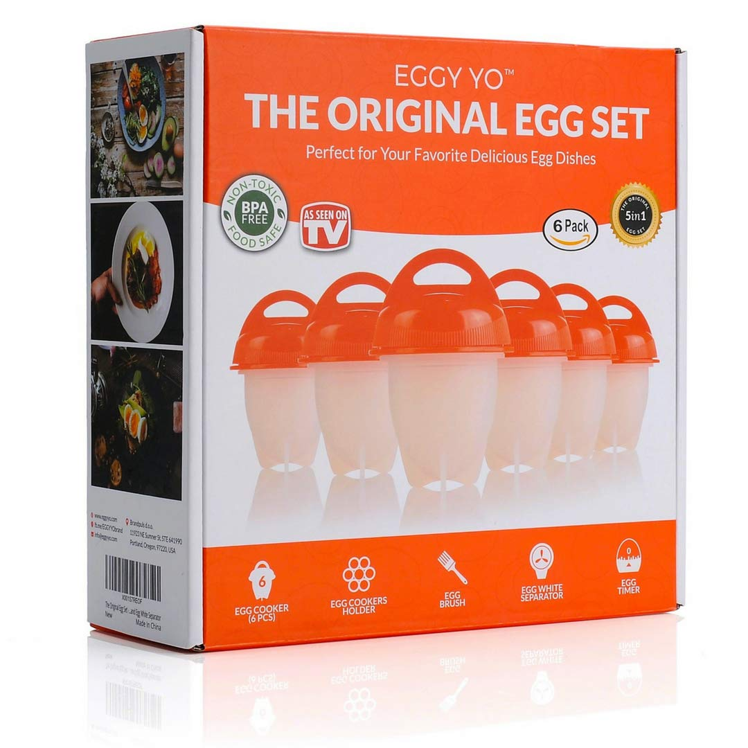 EGGY YO Hard Boiled Egg Maker - Egg Cooker Set with 6 Silicone Cups, Holder, Brush, White Separator, Timer. Perfect Soft and Hard Boiled Eggs Without The Shell. As seen on TV. Egg Boiler No Shell