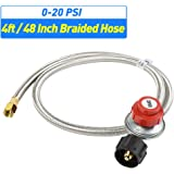 XHome 0-20 PSI Braided Propane Adjustable LP Regulator with Stainless Steel Hose Universal QCC1 Tank for Grill, Burner, Turkey Fryer and More, High Pressure, 3/8'' Female Flare Fitting (48 inch)